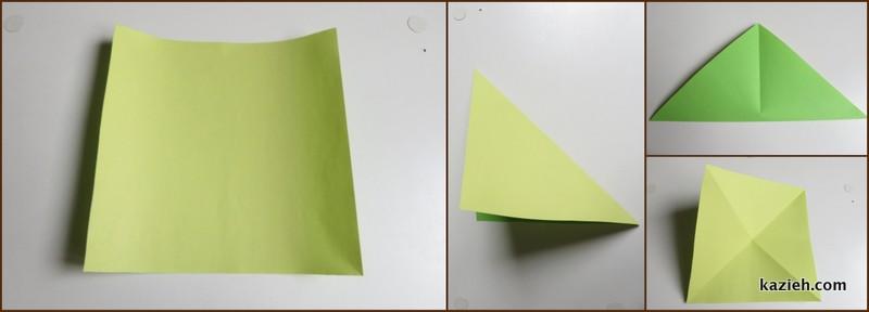 آموزش درنای اوریگامی -مرحله اول- کازیه