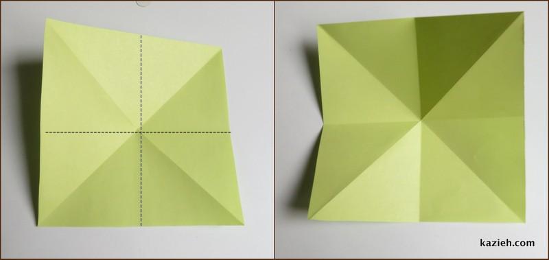 آموزش درنای اوریگامی -مرحله دوم - کازیه