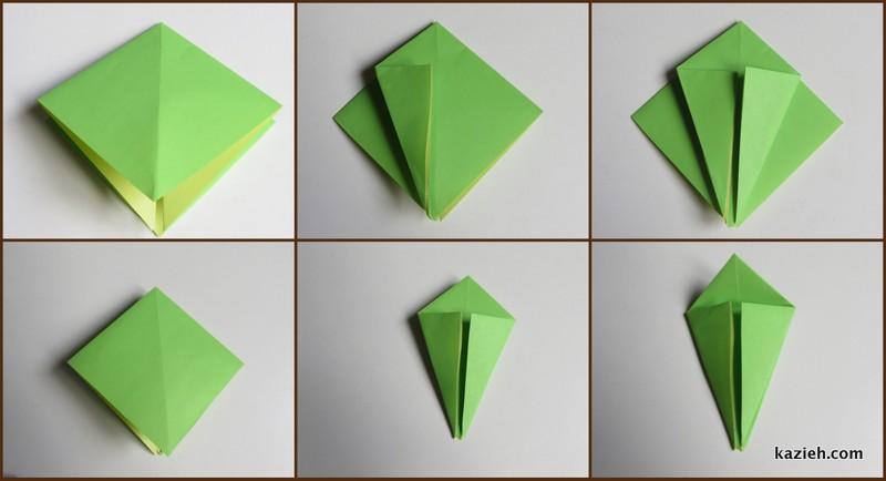 آموزش درنای اوریگامی -مرحله چهارم - کازیه