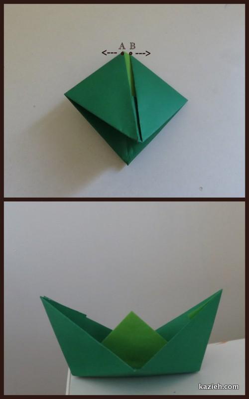 آموزش قایق اوریگامی - مرحله هشتم - کازیه