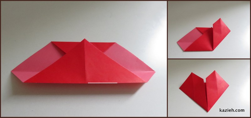 اموزش قلب اوریگامی ساده - مرحله سوم - کازیه