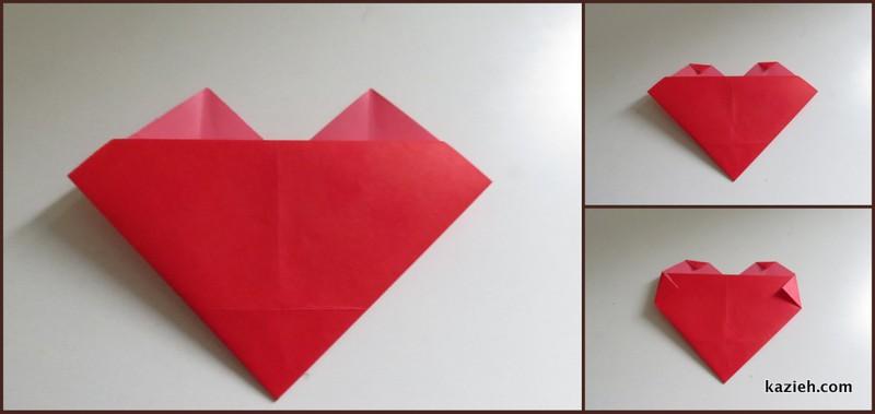 اموزش قلب اوریگامی ساده - مرحله چهارم - کازیه