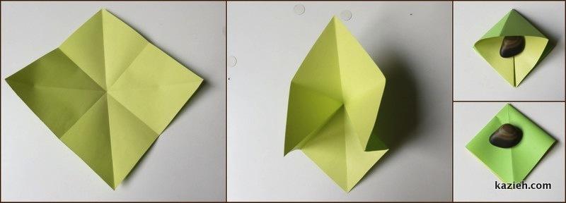آموزش درنای اوریگامی -مرحله سوم - کازیه