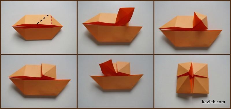 آموزش قاب عکی اوریگامی ساده - مرحله چهارم - کازیه