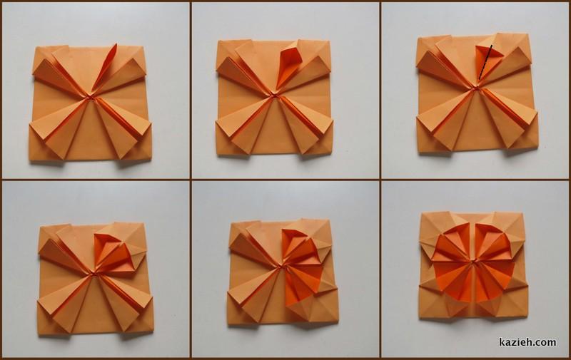 آموزش قاب عکی اوریگامی ساده - مرحله هفتم - کازیه