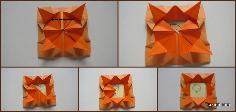 آموزش قاب عکی اوریگامی ساده - مرحله نهم - کازیه