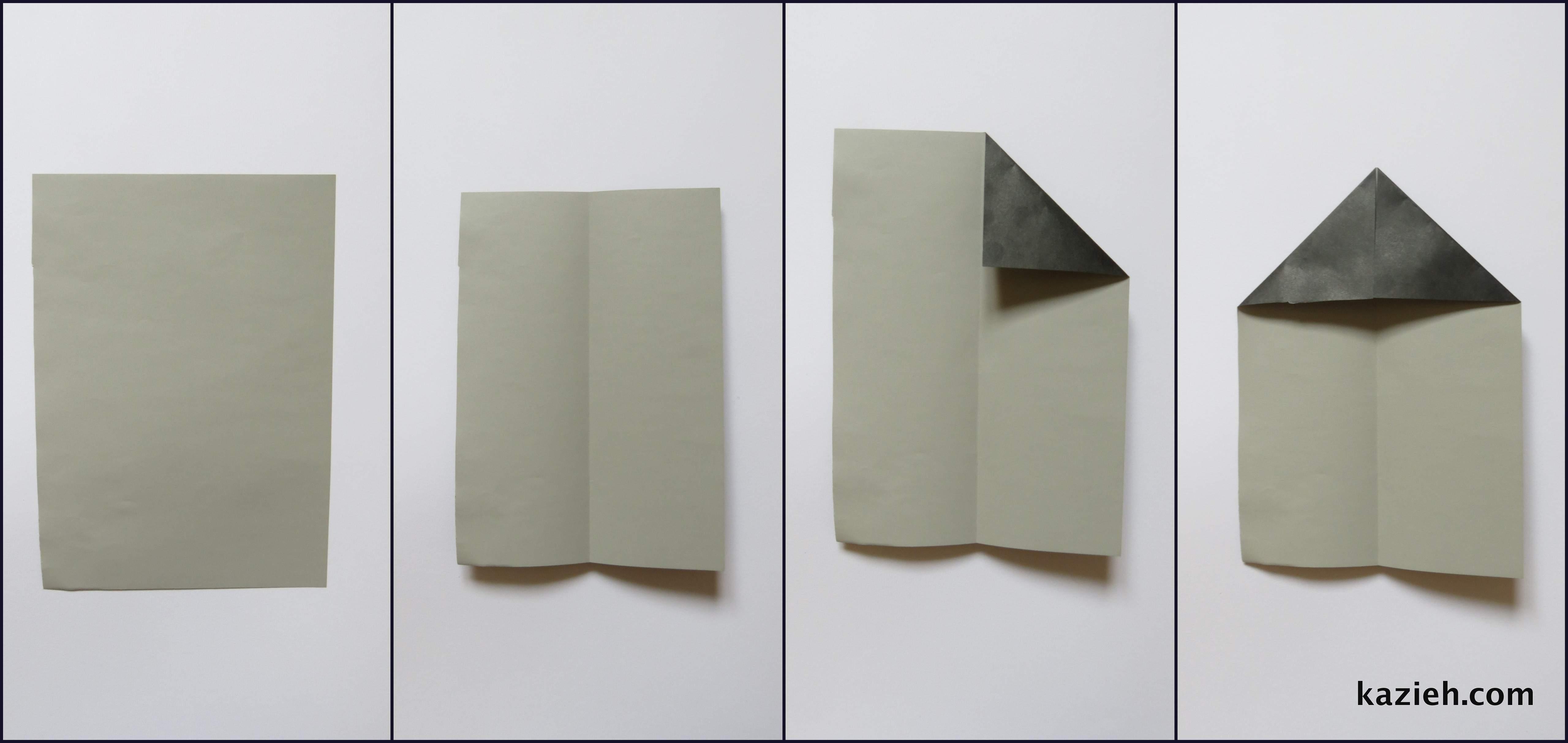 آموزش موشک کاغذی - مرحله اول - کازیه