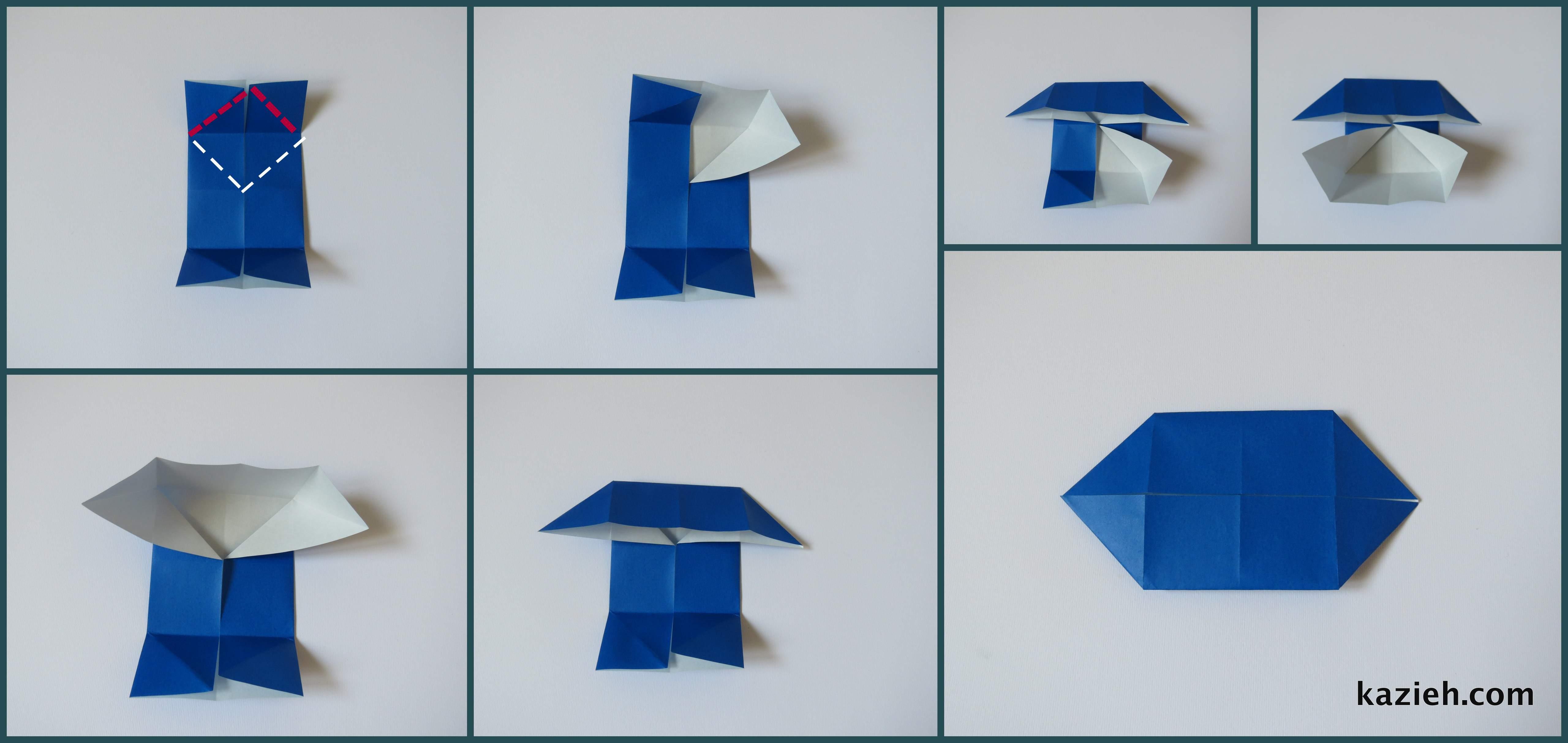 آموزش پروانه اوریگامی ساده -مرحله دوم- کازیه