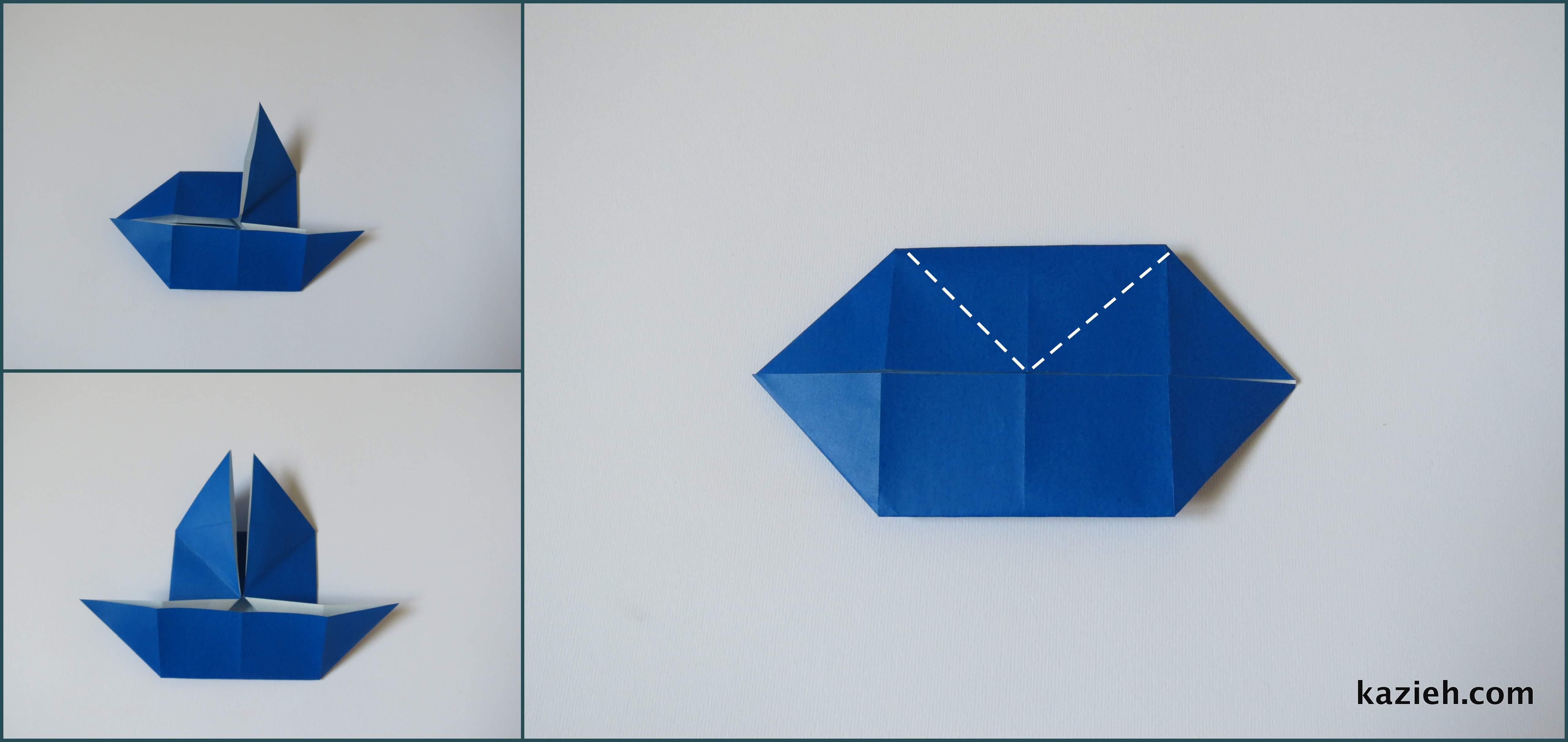آموزش پروانه اوریگامی ساده -مرحله سوم- کازیه
