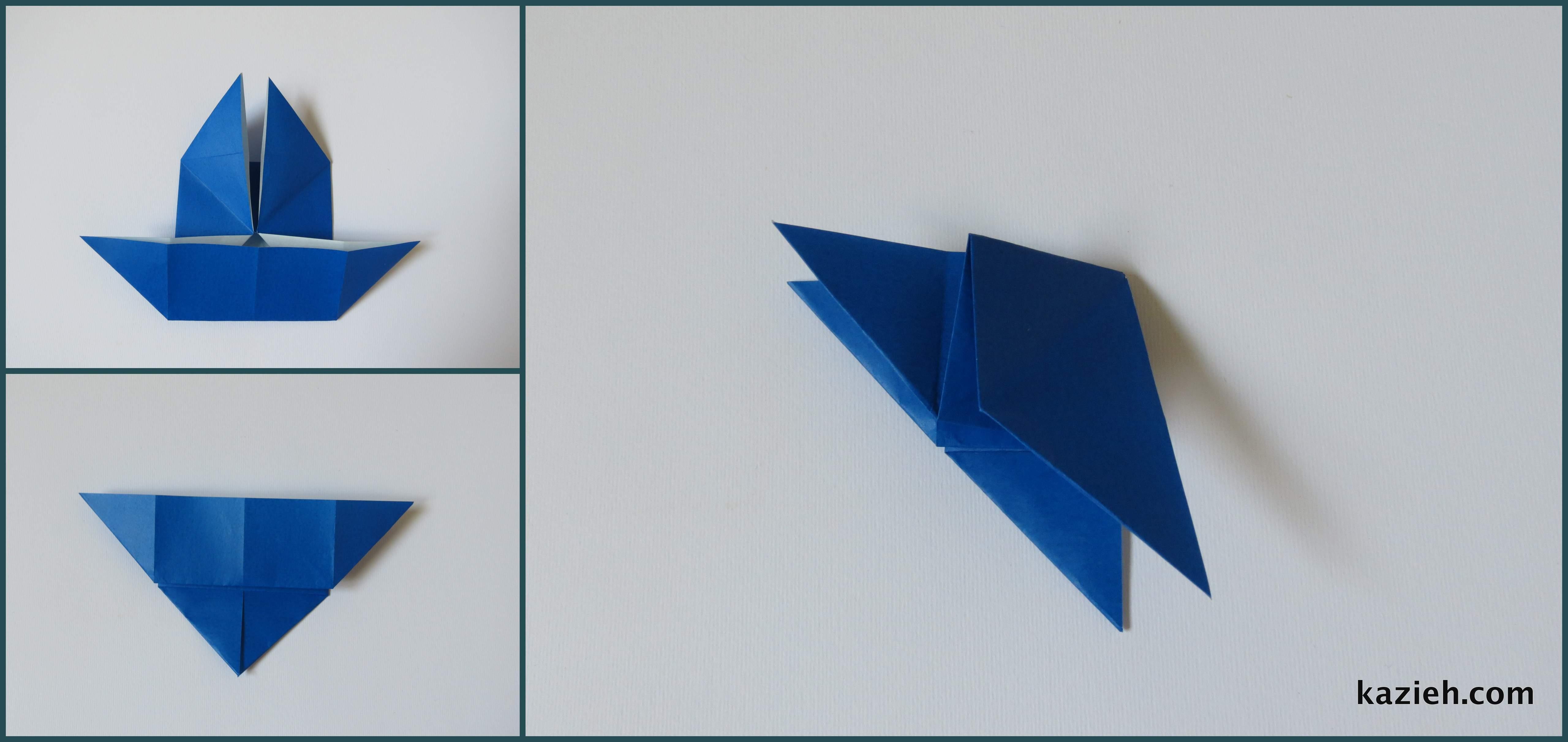 آموزش پروانه اوریگامی ساده -مرحله چهارم- کازیه