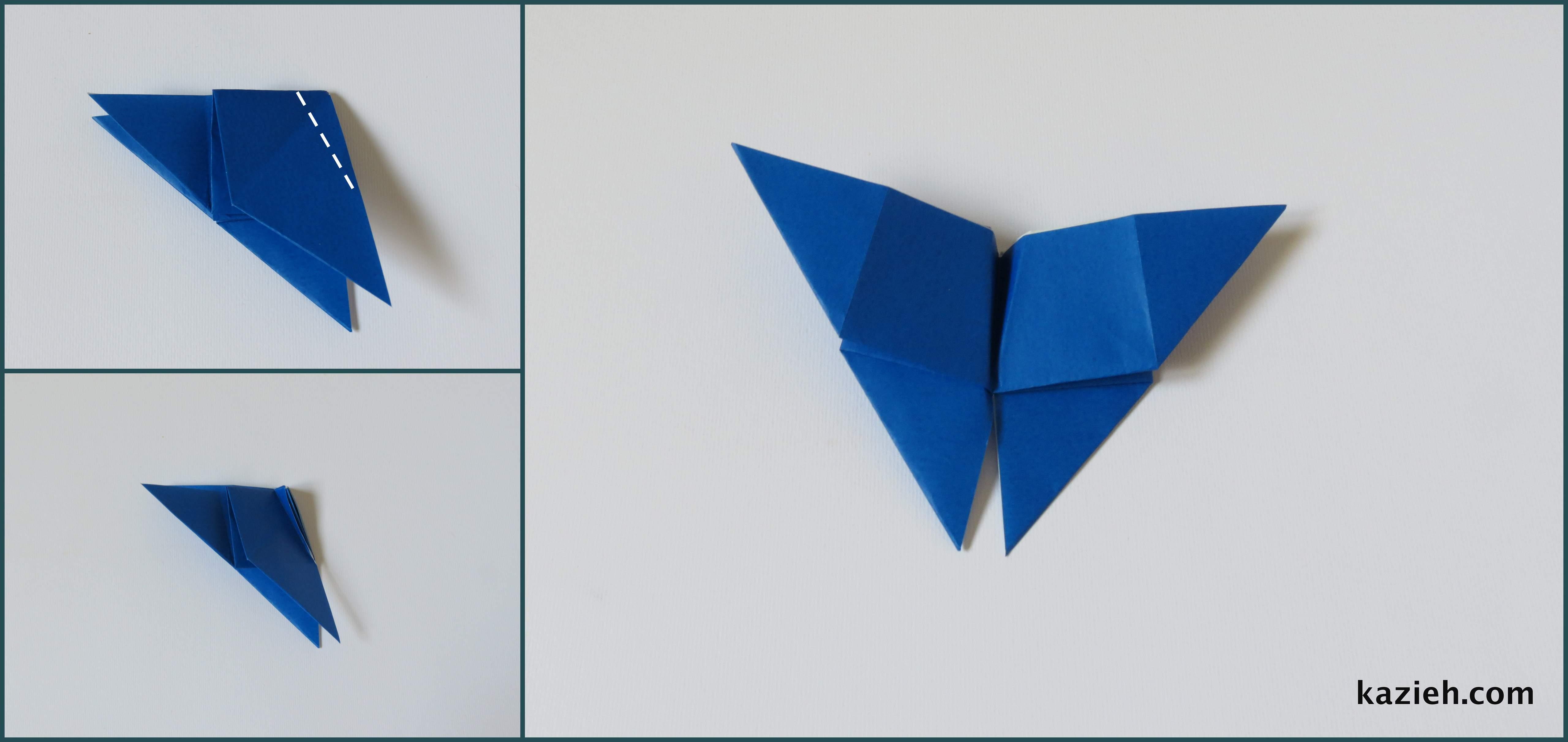 آموزش پروانه اوریگامی ساده -مرحله پنجم- کازیه