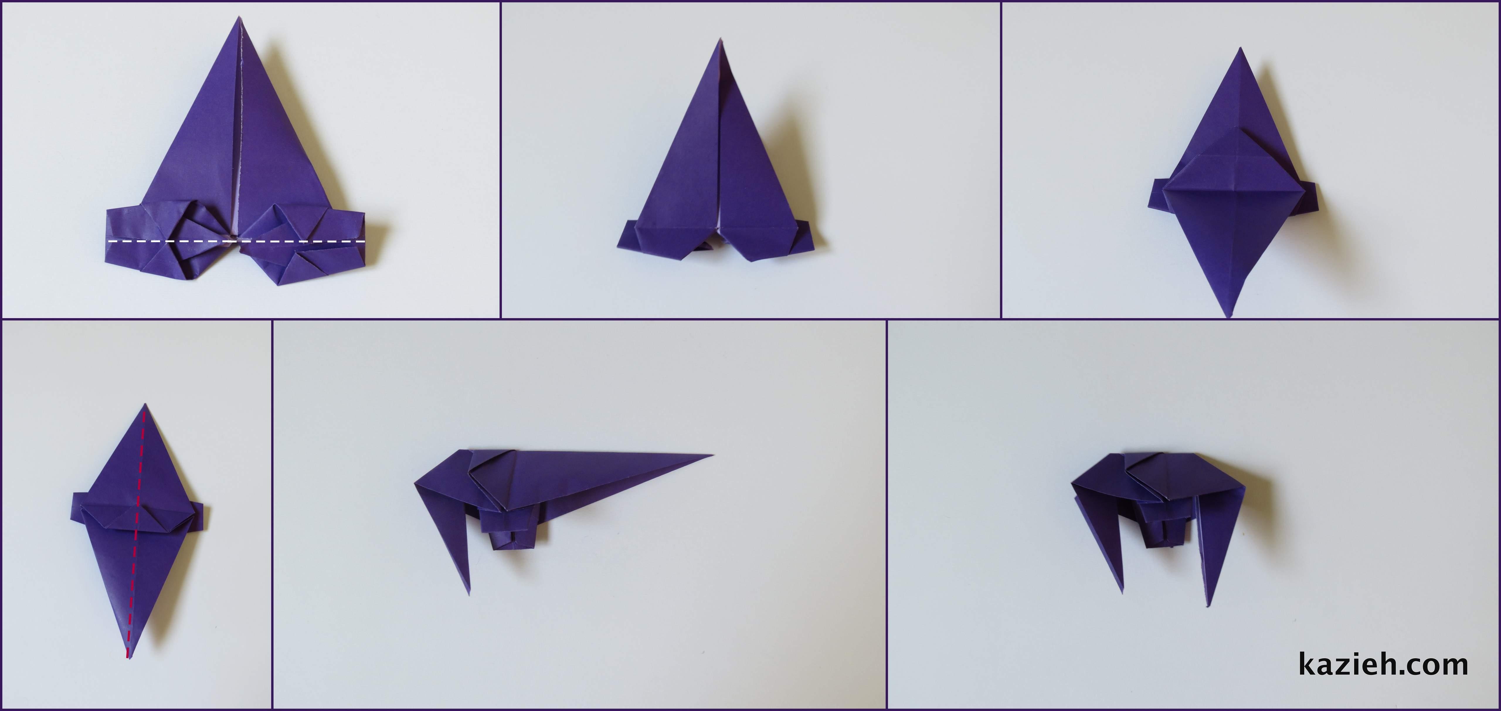 آموزش فیل اوریگامی مرحله ششم - کازیه