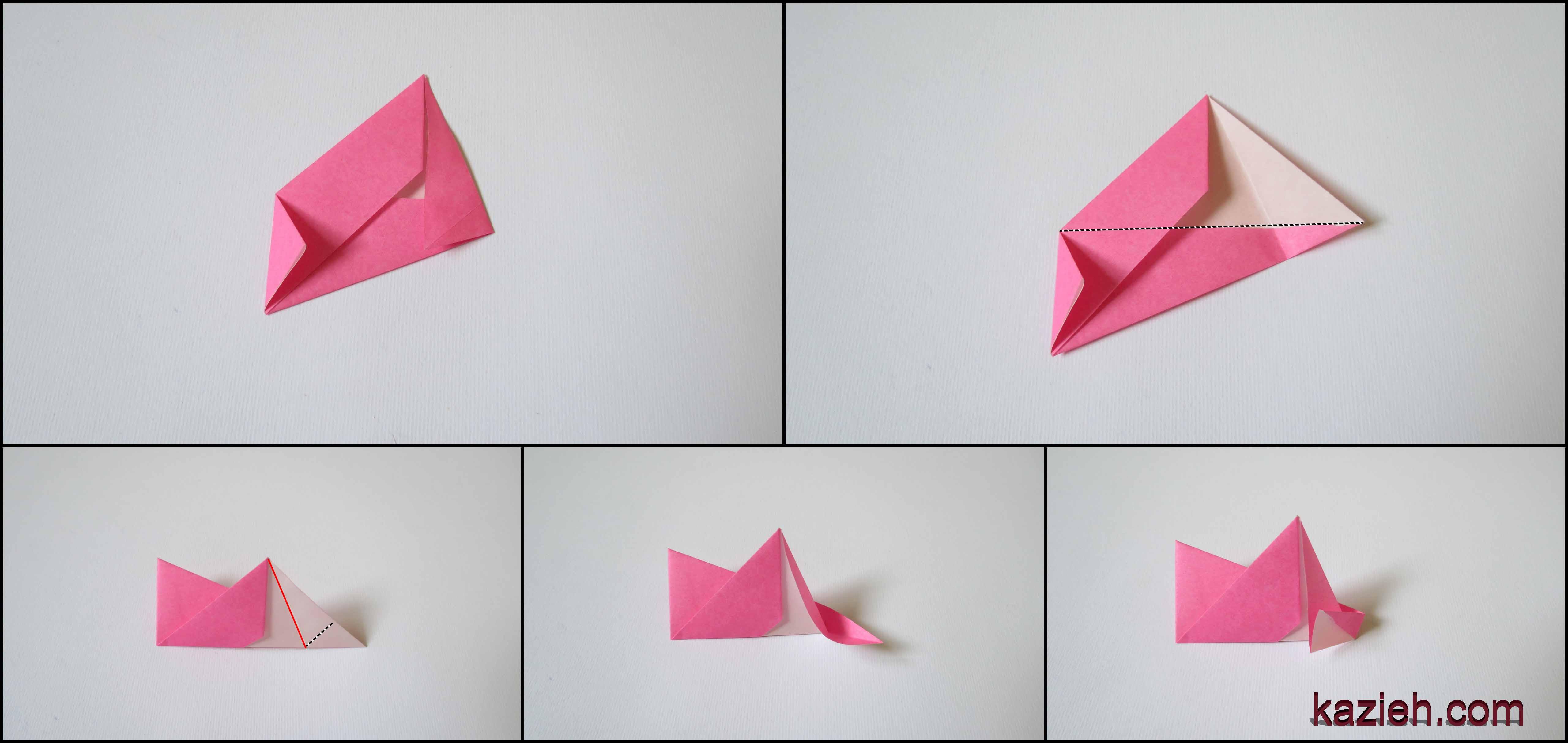 آموزش ستاره اوریگامی رابین- مرحله چهارم - کازیه