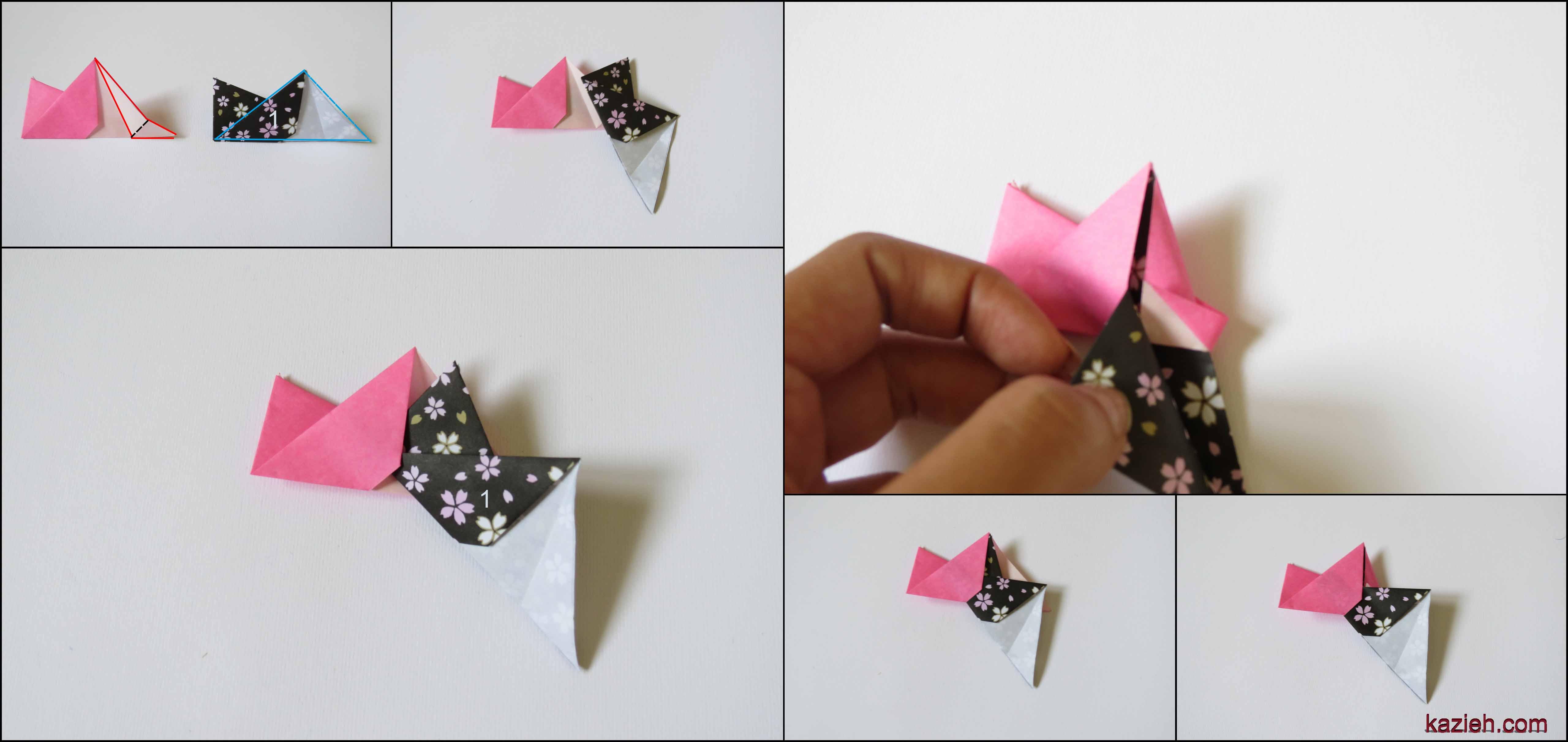 آموزش ستاره اوریگامی رابین- مرحله چهارم- اتصال واحدها - کازیه
