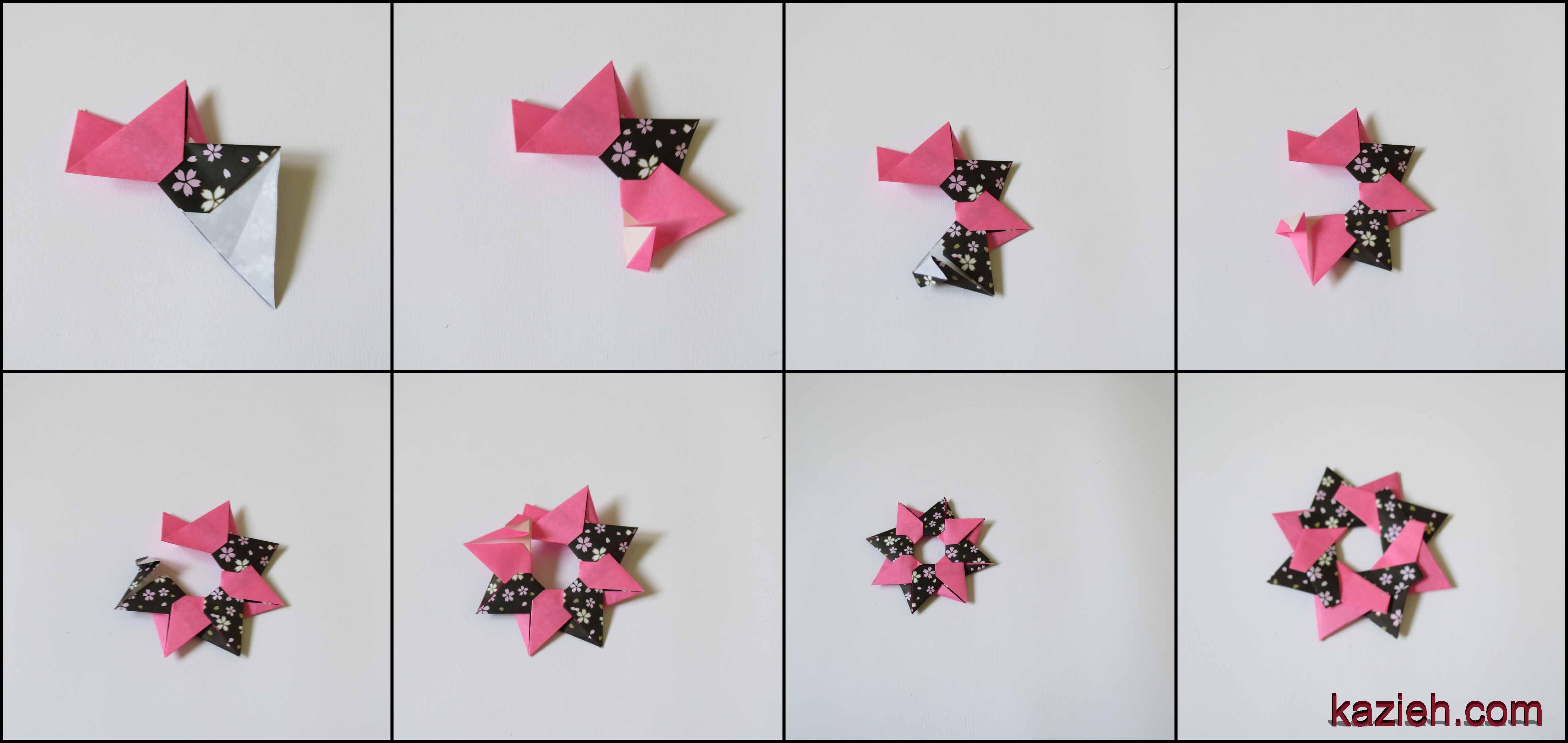 آموزش ستاره اوریگامی رابین-  اتصال واحدها - کازیه