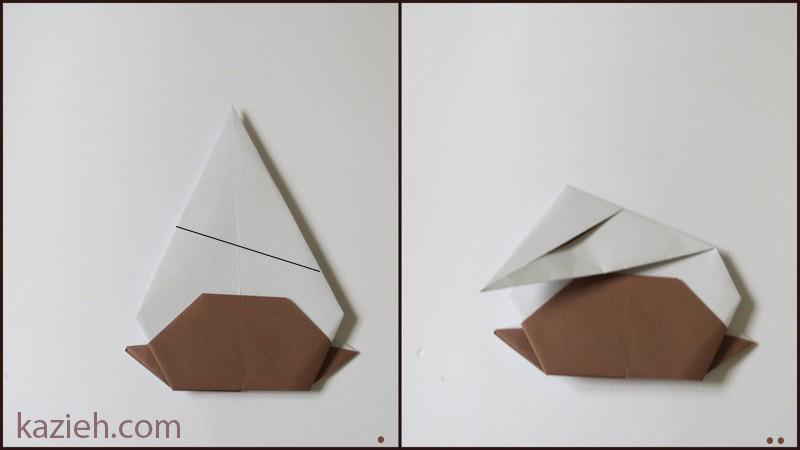 آموزش آدمک اوریگامی - مرحلهء سوم ساختن سر