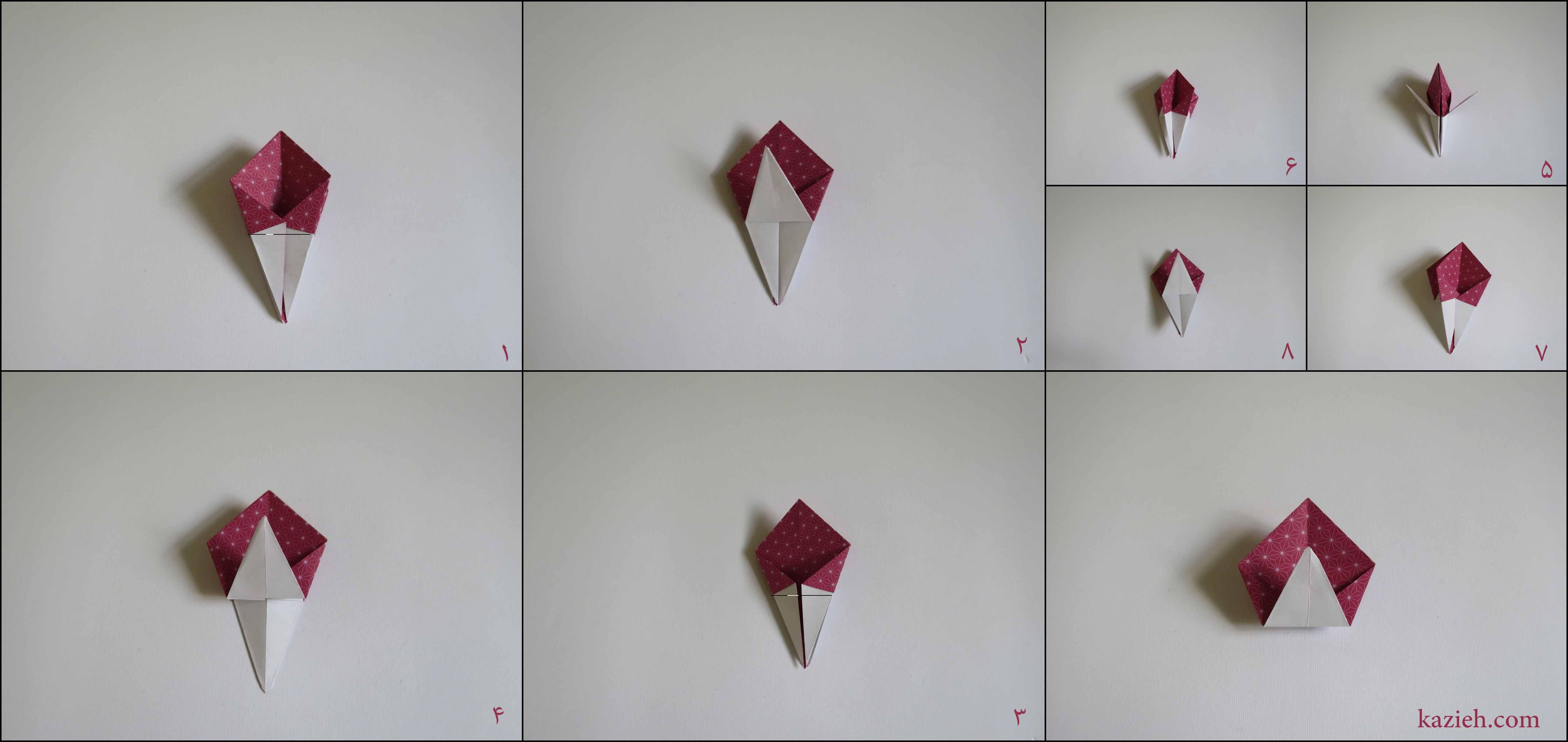 آموزش جعبه ستارهای اوریگامی کازیه - مرحله هفتم