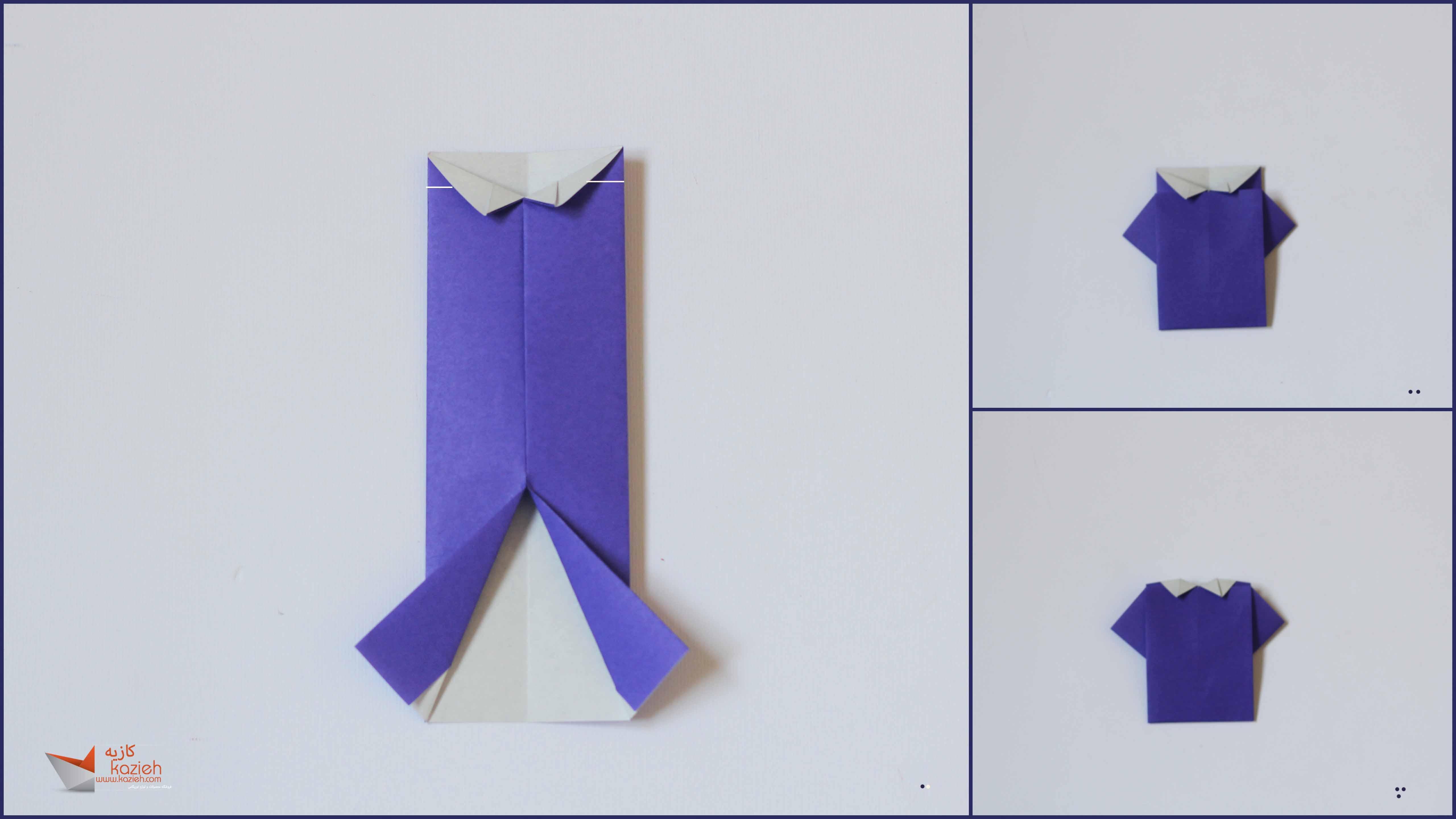 آموزش پیراهن مردانه اوریگامی- مرحله ششم - کازیه اریگامی - کاغذوتا