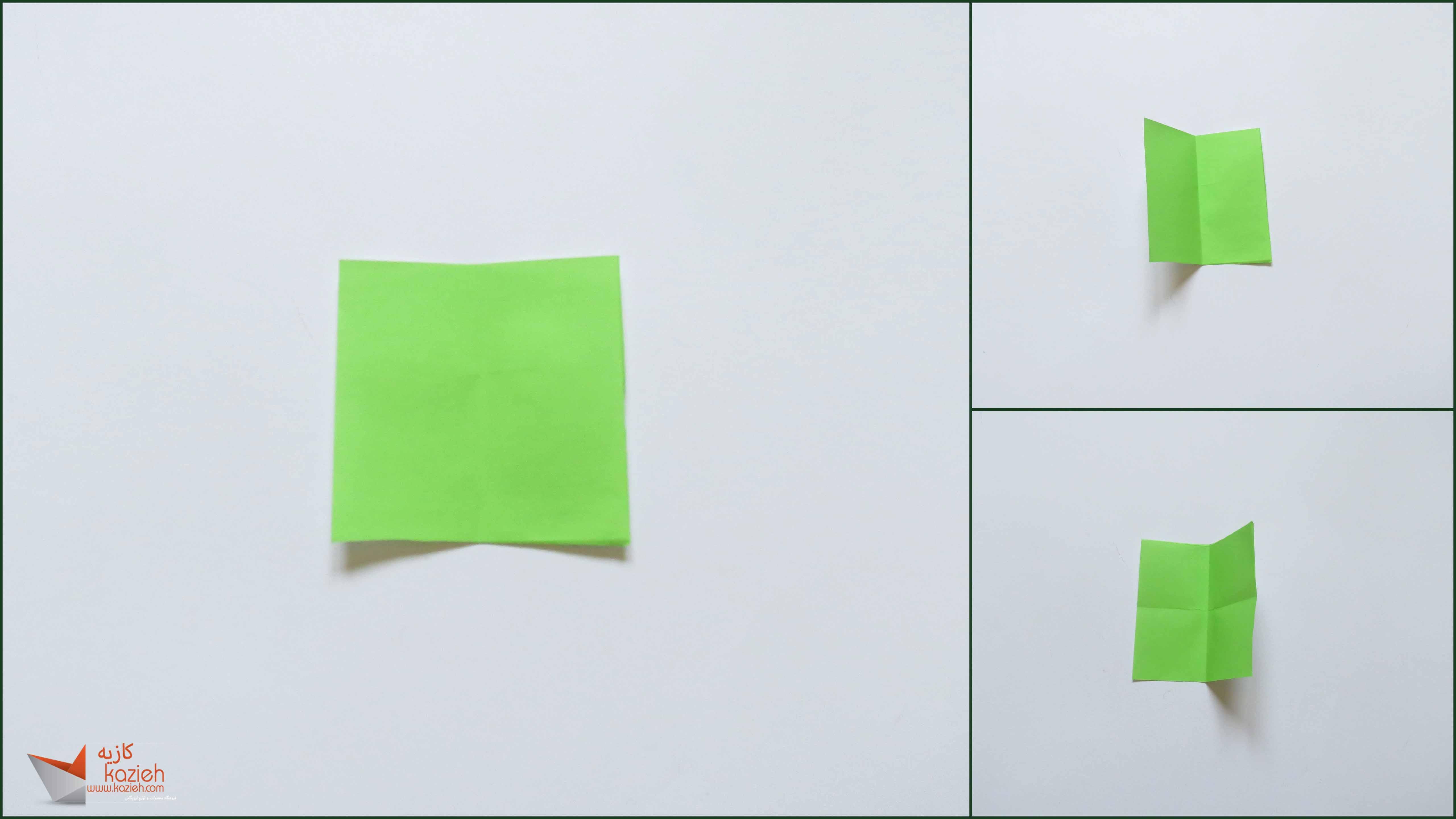 آموزش هشت وجهی اوریگامی مرحله ۱ - کازیه کاغذ و تا